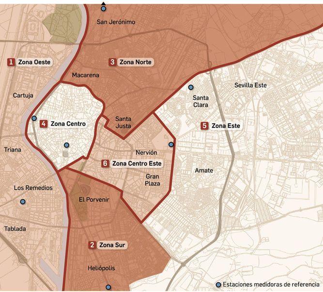 Zona Azul Sevilla Mapa.Las Restricciones De Trafico Se Endurecen Por La